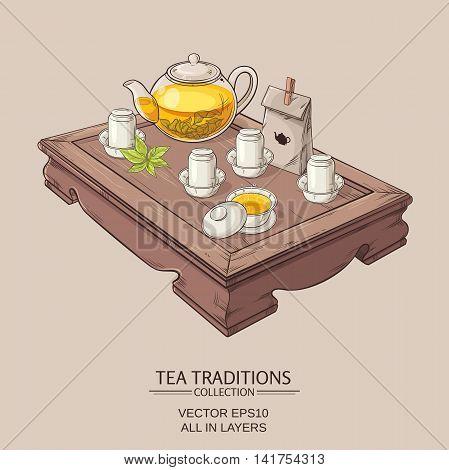 Tea table with teapot tea pairs gaiwan and tea leaves