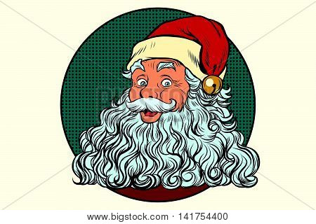 Classic Santa Claus with white beard, pop art retro vector illustration. Holidays New year and Christmas