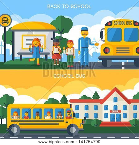 Back to School Horizontal Banners with Yellow Bus, Driver and Funny Kids. Vector Flat Illustration.