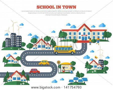 Road to School in Town Isolated on White Background. Vector Illustration. Education Concept with Flat Icons. Buildings, Yellow Bus and Kids.