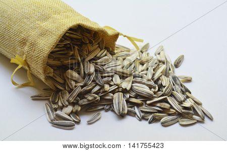 large white sunflower seeds bag , sunflower seeds