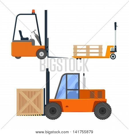 Forklift truck set vector illustration isolated on a white background