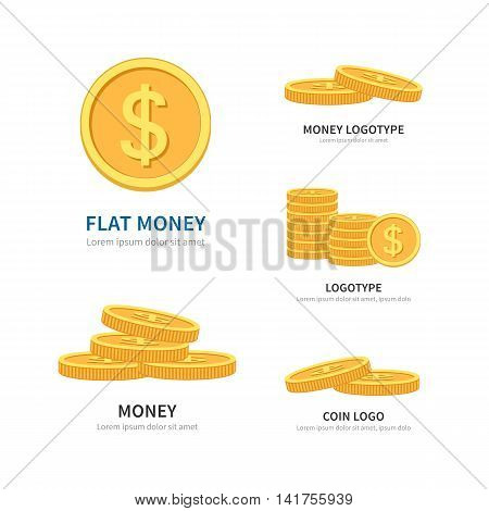 Set flat vector pile of coins logos isolated on white with space for text. Golden Coins stack. Finance concept business logotype