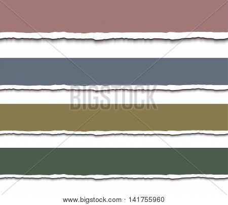 Torn paper pieces banners. Realistic vector illustration. Design template - paper with ripped edges for web banner and print