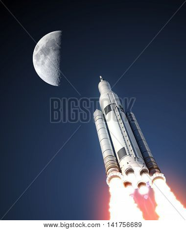 Space Launch System And Moon. 3D Illustration.