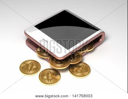 Concept Of Digital Wallet And Virtual Coins Bitcoins. 3D Illustration.