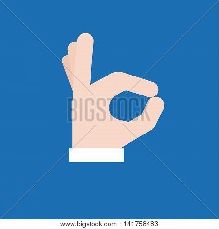 Okay hand sign icon, flat design vector