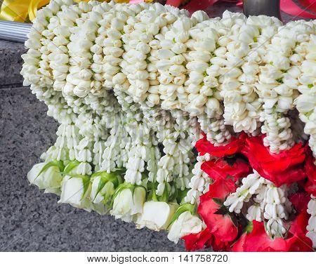 Flower garlands for buddhism religious ceremony, Thailand