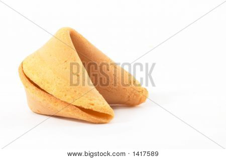 Chinese Fortune Cookie From Side, Closeup