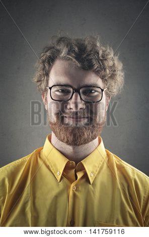 Satisfied man smiling