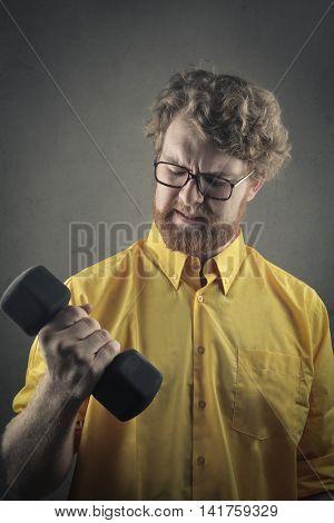 Man proving his strength