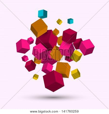 3d cubes, Vector geometric background with cubes