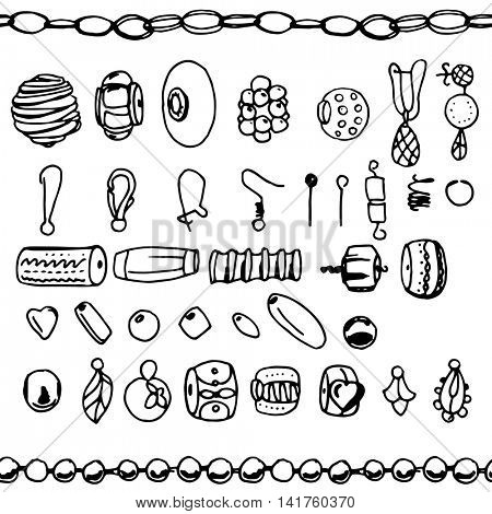 Set with  beads, chains, woman fashion. Contour, black and white. Chains are endless, seamless pattern brushes.