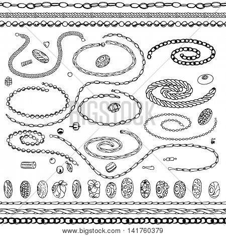 Set with bracelets, beads, chains, woman fashion.Contour, black and white.  Chains are endless, seamless pattern brushes.