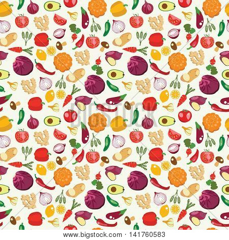 Vector background of fresh and healthy food. Vegetables pattern in flat style healthy eat concept. Background with Healthy Food Eco Farm Food.