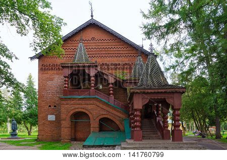 UGLICH RUSSIA - JULY 19 2016: Chambers of Uglich feudal princes (built in 1480). Architectural monument of XV century one of oldest civil buildings of Rus