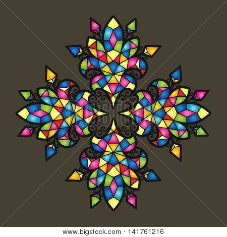 Vector mosaic background. Color tile texture ornament