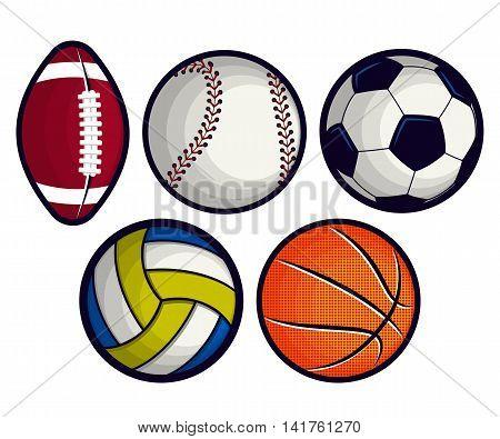 Set of balls isolated on white background.