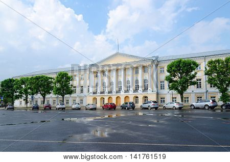 YAROSLAVL RUSSIA - JULY 21 2016: Building of former Provincial official place on Sovetskaya Square Yaroslavl Russia