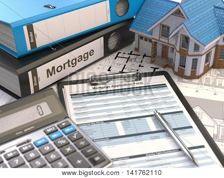 Mortgage application form, house, calculator and binders, 3d illustration