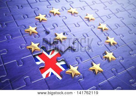 Brexit concept. Puzzle with EU European Union flag  without Great Britain  UK star. 3d illustration