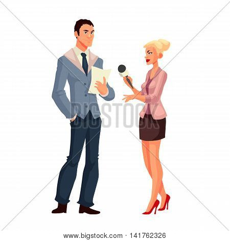 Beautiful female journalist, interviewee, cartoon style vector illustration isolated on white background. Full height reporter, journalist taking interview
