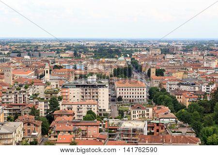 Bergamo cityscape panorama seen from Citta Alta Italy