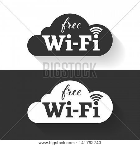 Free wifi icon in cloud shape. Vector wifi sticker sign with black and white background.