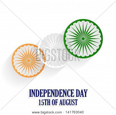 India Independence Day poster. 15th of August. White background. Vector illustration.