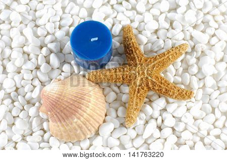 blue candle with starfish and sea shells on white pebble