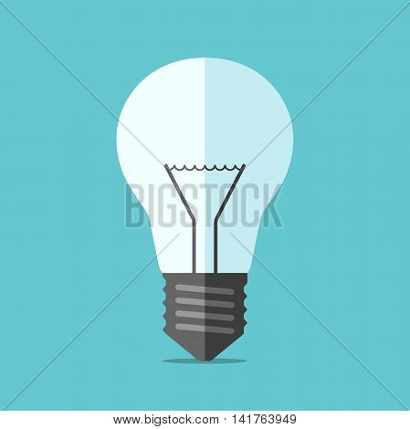 Flat style light bulb on blue background. Technology idea solution innovation creativity and invention concept. EPS 8 vector illustration no transparency