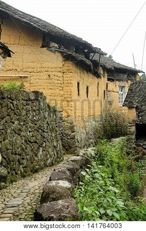 Stone buildings within a small village near the Cloud Rice terraces of Yunhe county in Chaoshan in zhejiang province China.