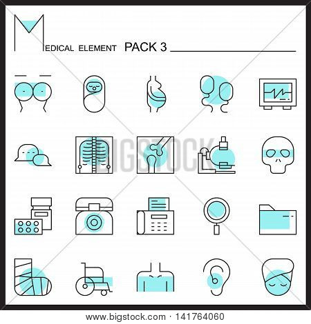 Medical line icons.Color outline icons pack 3.Pictogram set