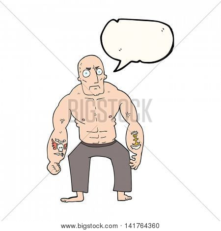 freehand drawn speech bubble cartoon tough man