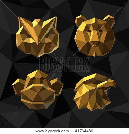 Vector illustration Golden owl bear monkey Polygon style