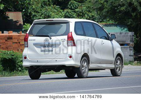 CHIANGMAI THAILAND -JULY 27 2016: Private Toyota Avanza car. Mini Suv Car for Urbun User. On road no.1001 8 km from Chiangmai Business Area.