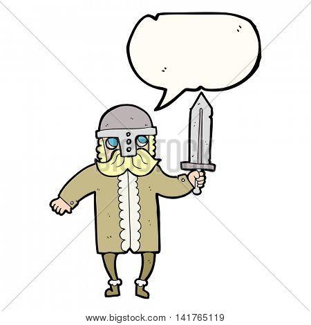 freehand drawn speech bubble cartoon saxon warrior