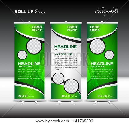 Green Roll Up Banner template vector illustration, roll up stand, banner design, advertisement, display, flyer design