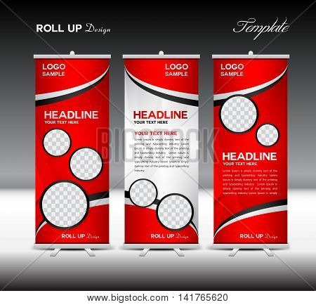 Red Roll Up Banner template vector illustration, roll up stand, banner design, advertisement, display, flyer design