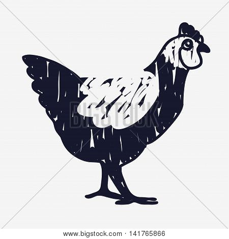Vector doodle chicken icon. Isolated black textured chicken icon for logo web site design app UI. Doodle animal illustration for posters cards book cover flyers banner web game designs.