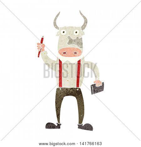 freehand retro cartoon bull man