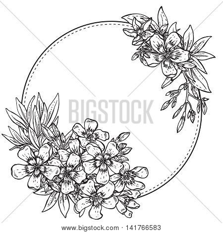Vector illustration. hand drawn composition of black and white rhododendron flowers on white background. Template for print, invitation card, greeting card.
