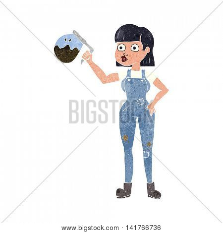 freehand retro cartoon woman in dungarees with coffee