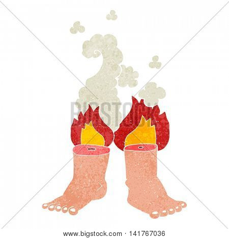 freehand retro cartoon of spontaneous human combustion