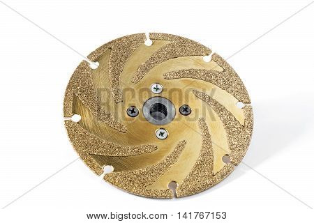 gold studded diamond blade on white background isolated