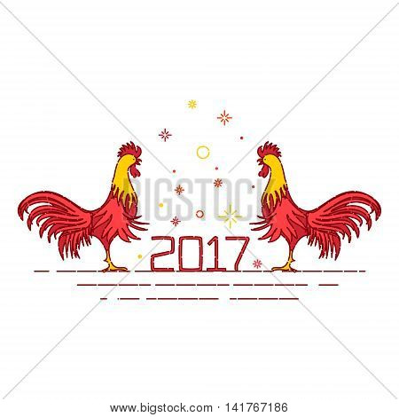 Chinese New Year rooster decoration design template on white background. Rooster symbol logo for eastern calendar. Greeting card with red cocks - symbol of 2017. Chinese rooster vector illustration.