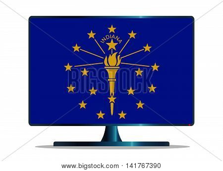 a tv or computer screen with the indiana state flag