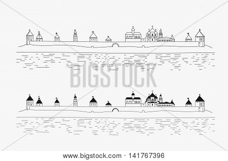 Novgorod Kremlin, Detinets on the Volkhov River in Veliky Novgorod, Russia. Vector illustration