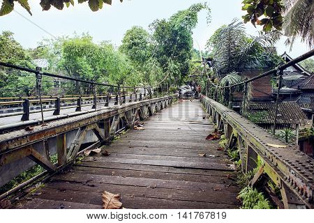 old wooden bridge in Ubud, Bali Indonesia