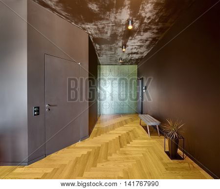 Hall in modern style with dark walls, texture ceiling with glowing lamps, parquet on the floor. On the left there is door. At the back there is texture wardrobe. On the right there is bench and plant.